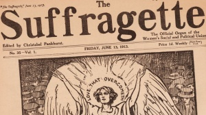 The front page of The Suffragette newspaper depicts Emily Wilding Davison, who died under the hooves of the King's horse at Epsom, as an angel, 13th June 1913. (Photo by Sean Sexton/Getty Images)